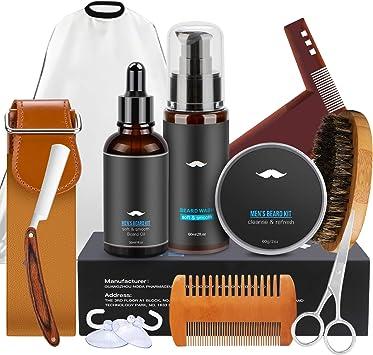 Kit Cuidado de Barba Juego de Regalo Hombre 10 en 1 Aceite Barba ...