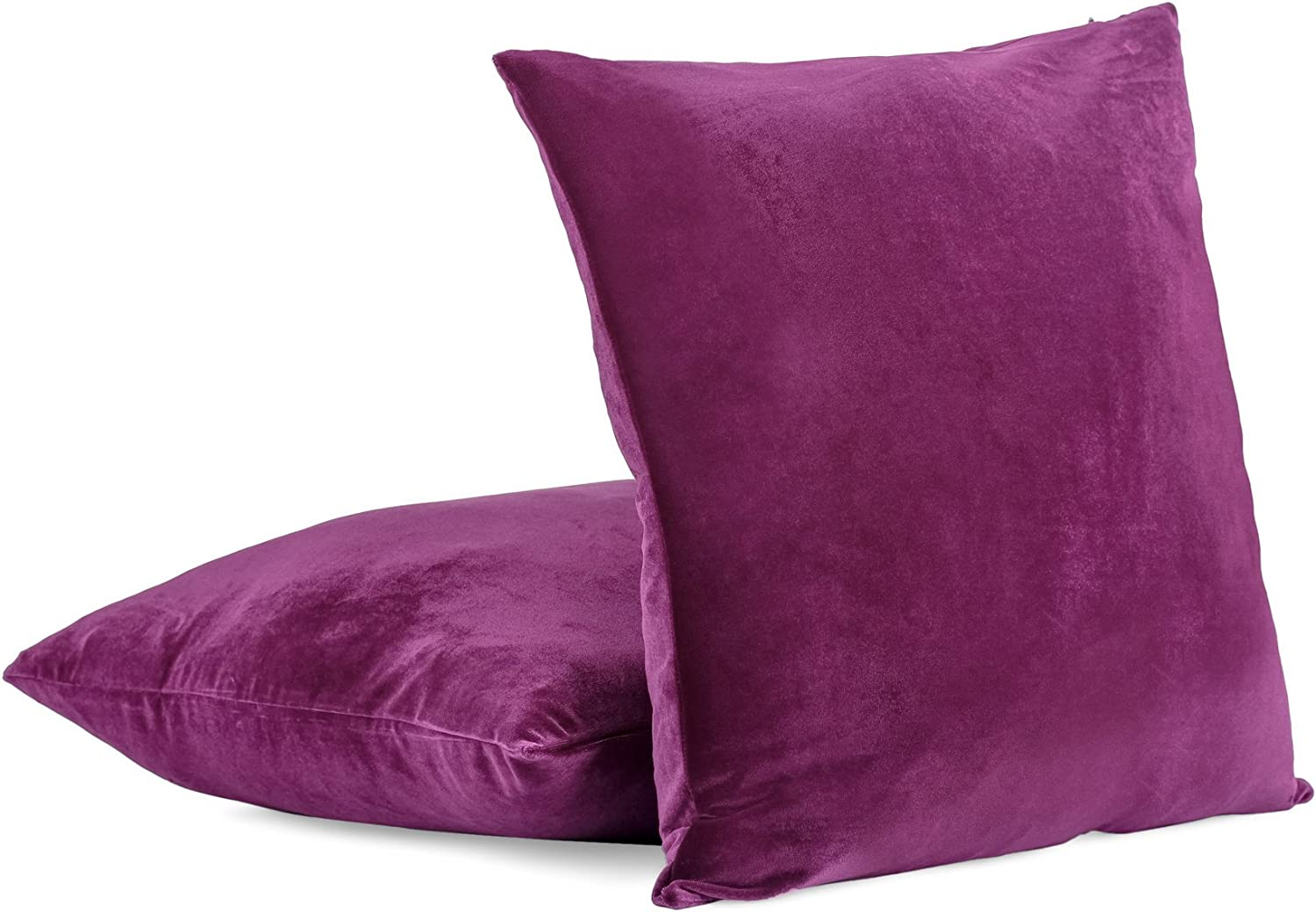 Amazon Com Super Soft Velvet Decorative Euro Pillow Cover With Zipper 26 X 26 Purple Set Of 2 Home Kitchen