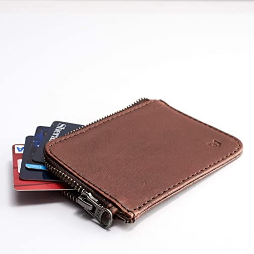 04a04b2a28bd74 Amazon.com: Capra Leather Zip Card Holder for Men, Brown Business Credit  Cards Case, Slim Designer Minimalist Personalized Wallet Pouch.