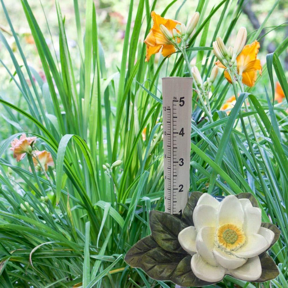 The Crabby Nook Rain Gauge Garden Outdoor Decor Lotus Flower