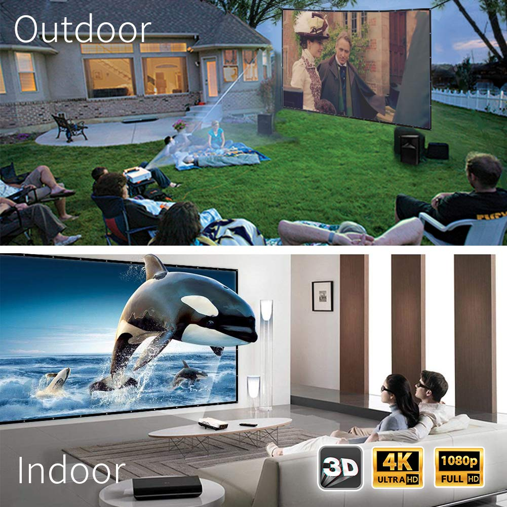 Projector Screen, Upgraded 180 Inch Portable Projector Screen 16:9 HD Anti-Crease Indoor Outdoor Foldable Portable Movie Screen by JWSIT (Image #4)