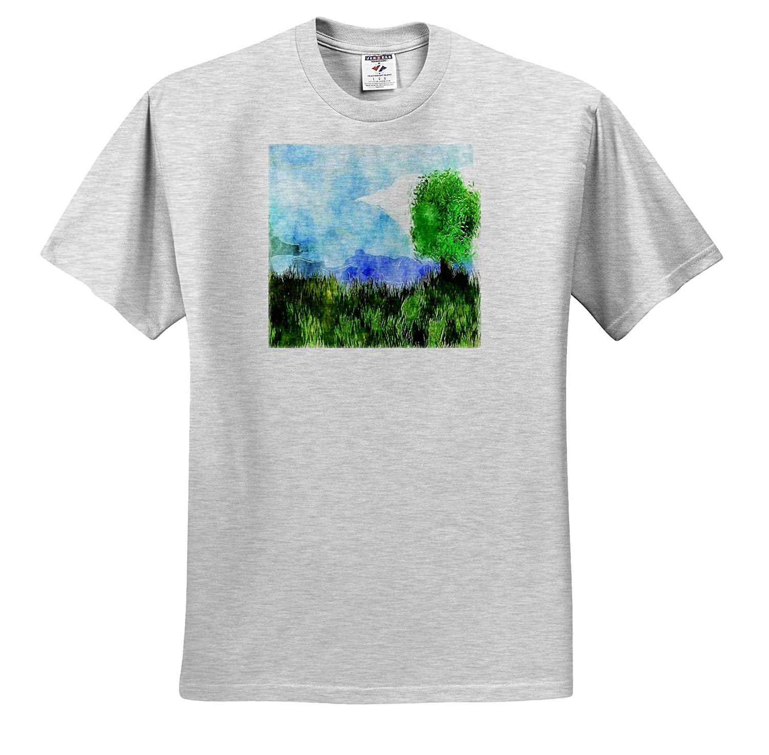 Watercolor Art Image of Fields of Green with Violet Mountains and Tree Art T-Shirts 3dRose Lens Art by Florene