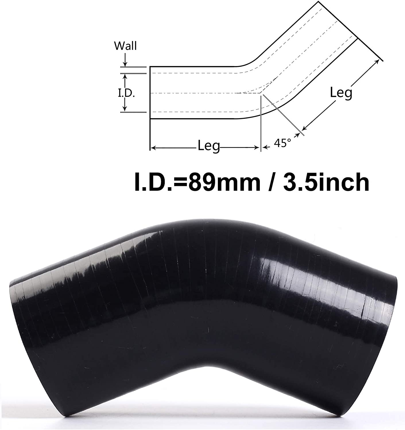 BLACKHORSE-RACING 70mm 2.75 Black 4-Ply High Performance 45 Degree Elbow Reducer Coupler Silicone Hose Universal