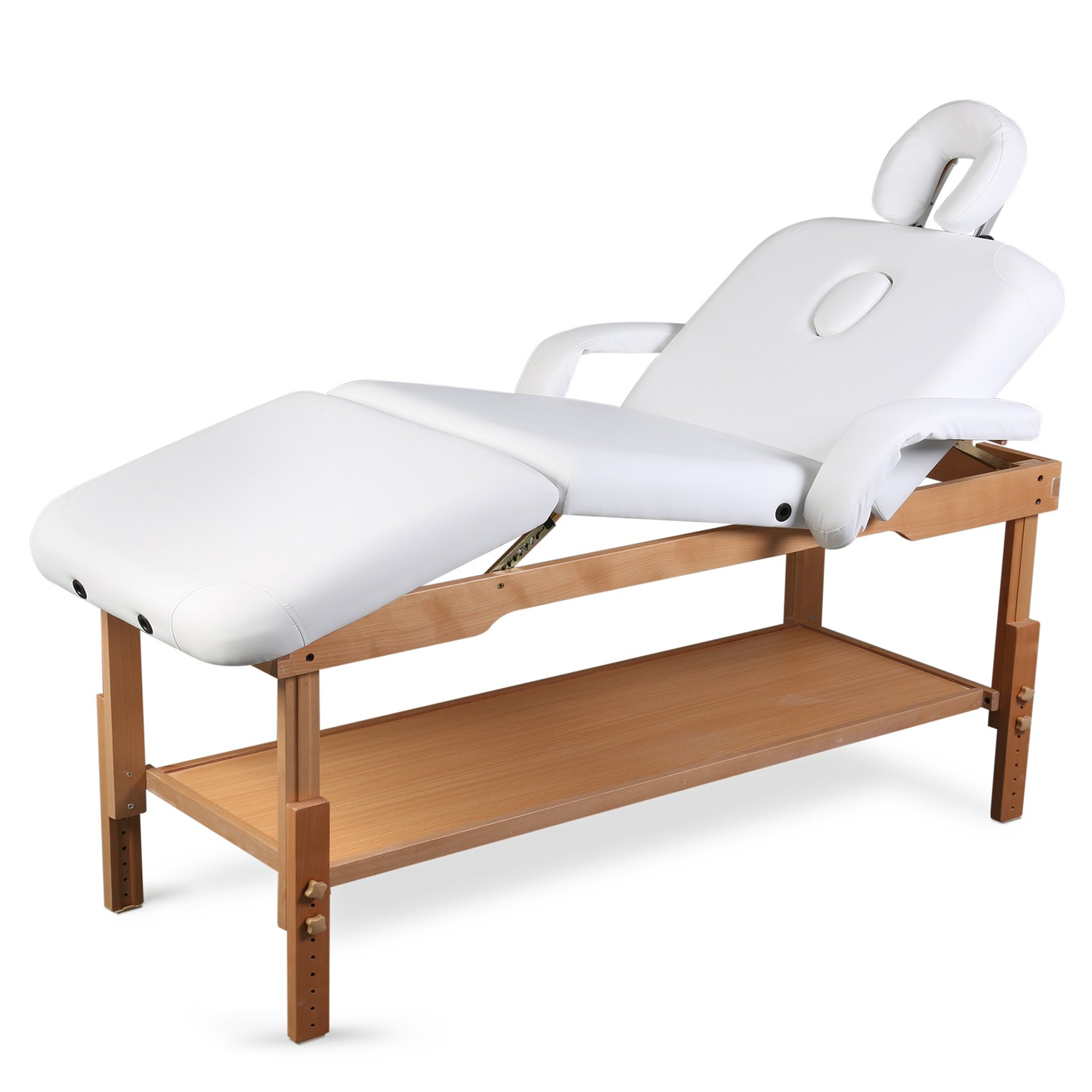 3 Sections Professional Stationary Massage Table Bed Beauty Therapy Salon Couch