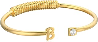 product image for 1928 Jewelry 14K Gold-Dipped Initial and Clear Crystal Accent C-Cuff Bracelet