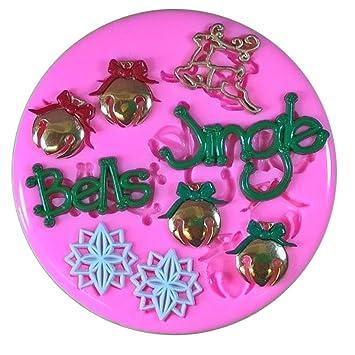 Jingle Bells Adornos navideños Molde de silicona para la torta de Decoración Pastel de Cupcake Toppers Glaseado Sugarcraft Tool por Fairie Blessings: ...