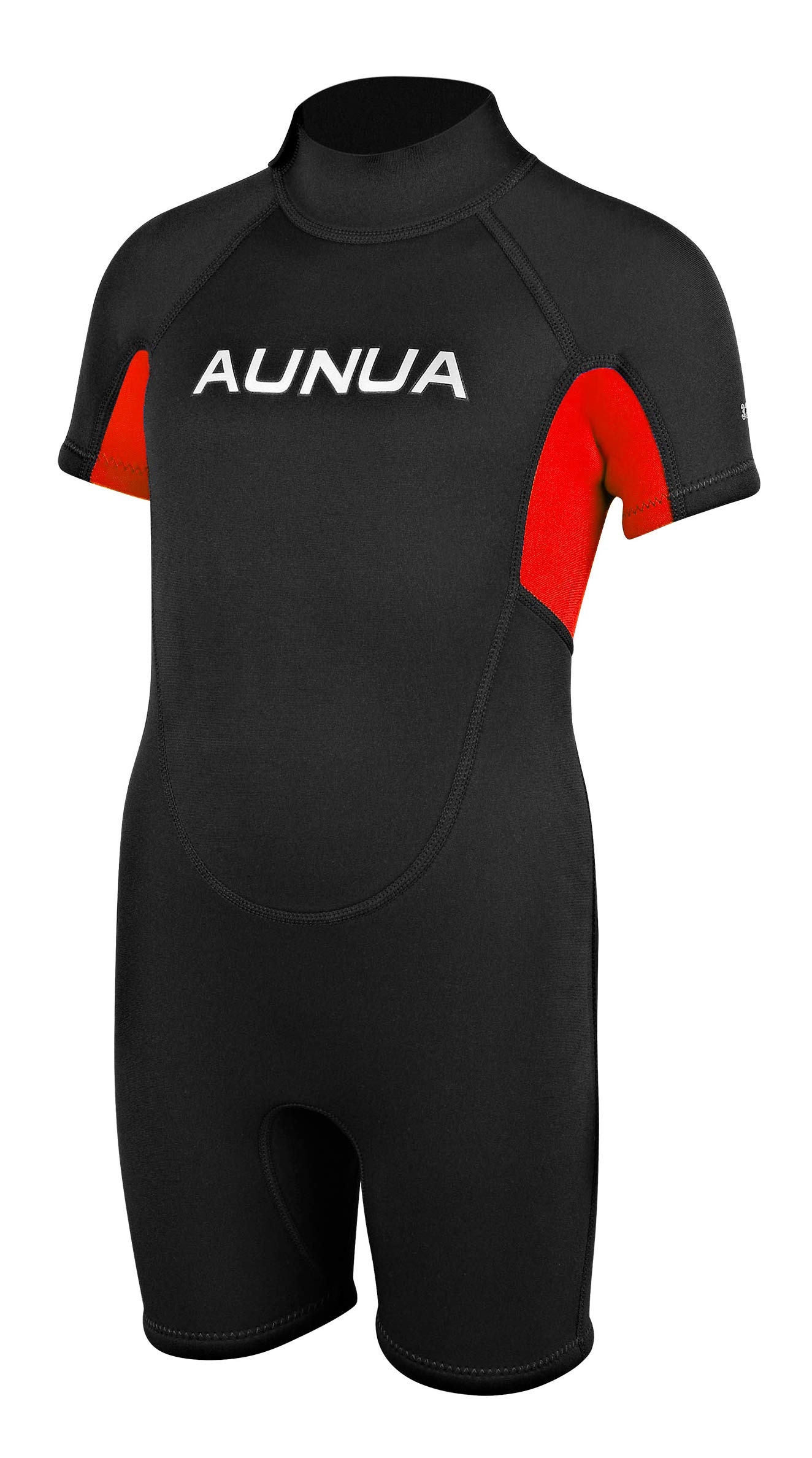 Aunua Children's 3mm Youth Swimming Suit Shorty Wetsuits Neoprene for Kids Keep Warm(7035 BlackRed 4)