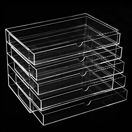 Amazoncom Homdox Acrylic Makeup Organizer 5 drawers Cosmetics and