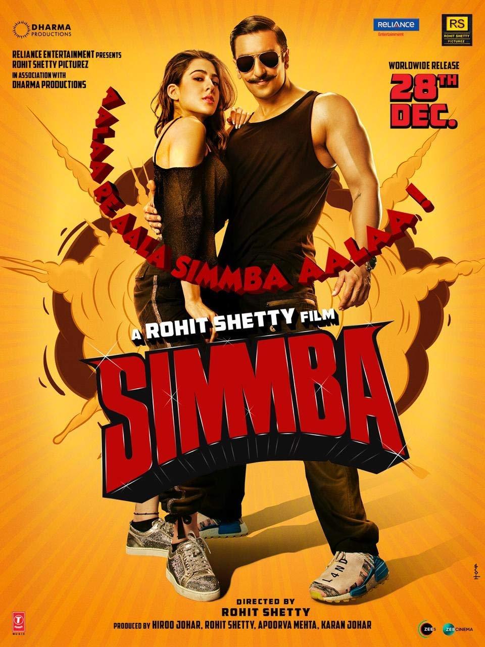 Amazon Com Simmba Hindi Blu Ray Ranveer Singh Sara Ali Khan 2019 Latest Bollywood Movie Indian Film Movies Tv