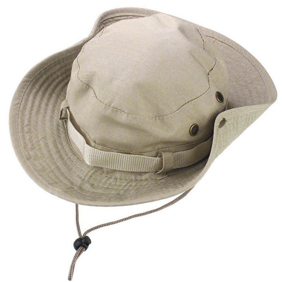 Tongshi Sombrero del cubo de Boonie Pesca Caza al aire libre Amplia Cap Brim Militar Beige