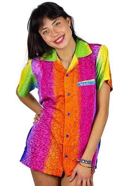 7c00e01b V.H.O. Funky Hawaiian Blouse Women Short-Sleeve Front-Pocket Rainbow  Stripes Multicolor at Amazon Women's Clothing store: