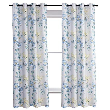 Amazon Anady Top Flowers Blackout Lined Curtains Teal Blue
