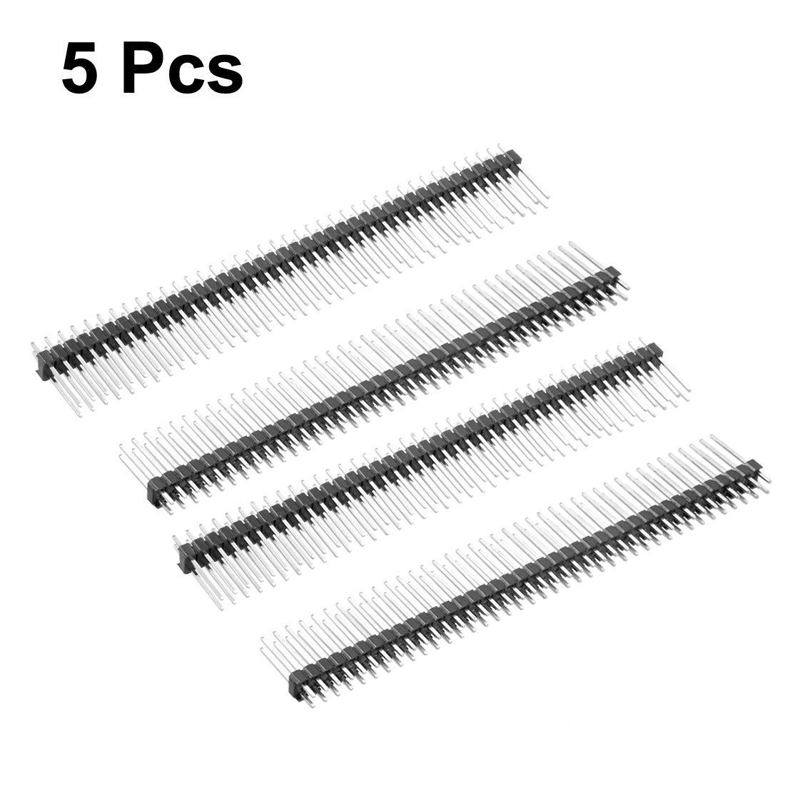 Sourcingmap 5/pcs 2,54/mm Pas 40/Broches Connecteur Droit 20/mm Longueur Double rang/ée Pin Header Strip pour Arduino Prototype Shield