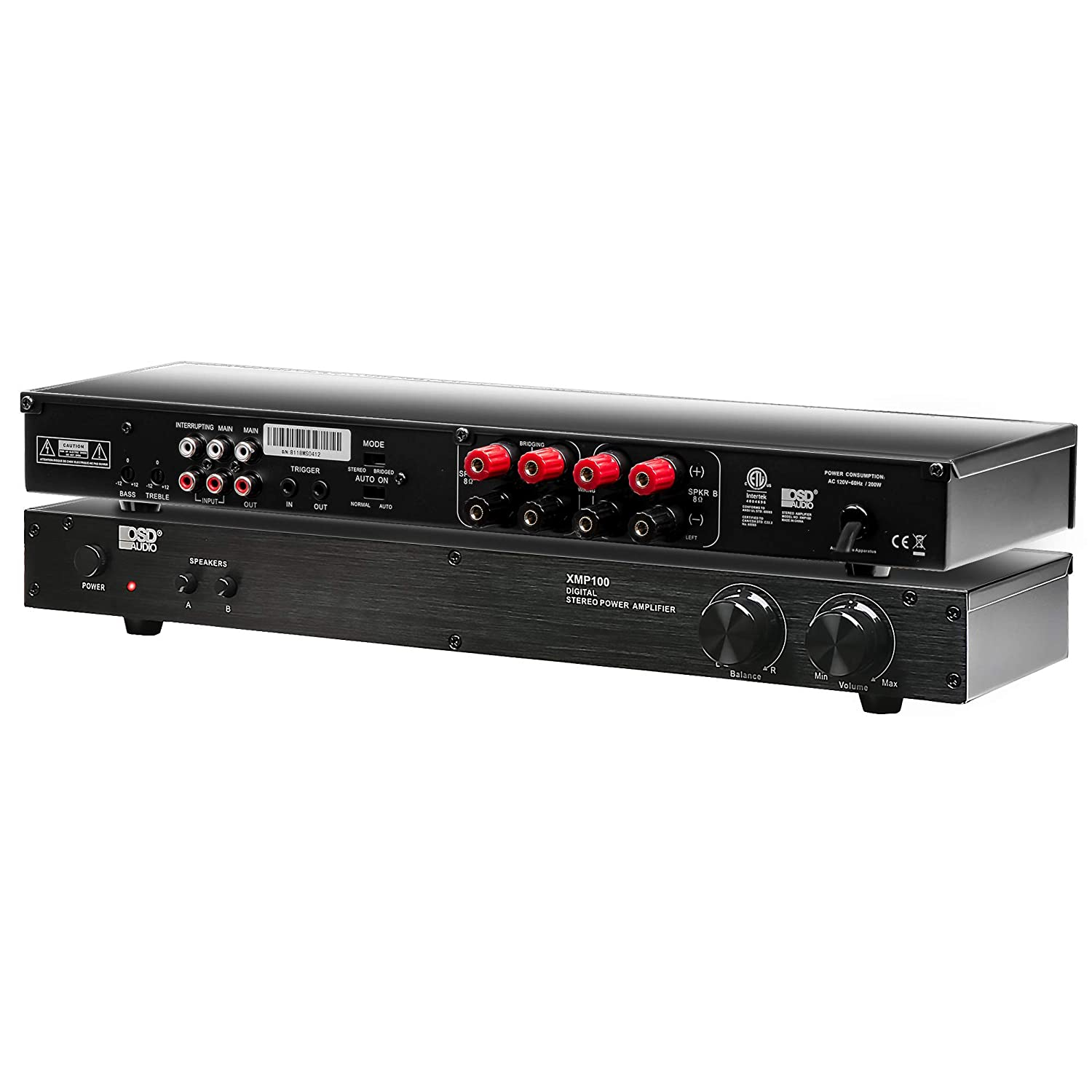 OSD Audio 75W Class D Stereo Amplifier – 2 Channel Source Switch System, XMP100