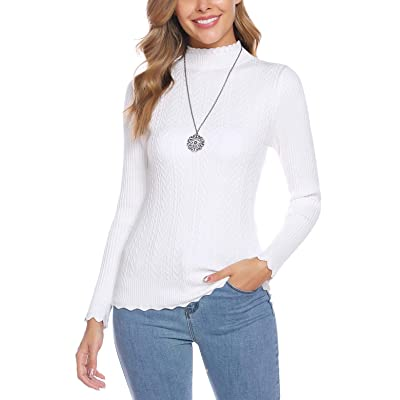Abollria Women's Turtleneck Sweater Long Sleeve with Ribbed Slim Fit Pullover Tops at Amazon Women's Clothing store