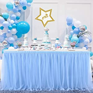 Suppromo Baby Blue Tulle Table Skirt for Baby Shower Boy 6ft Blue Table Cloth Cover for Birthday Party Baby Shark Gender Reveal Cake Table Decorations