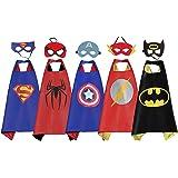 RioRand Costumi da supereroe per Bambini con mantelle in raso con maschera in feltro per Regali di compleanno Bambini Giocattoli (5 set)
