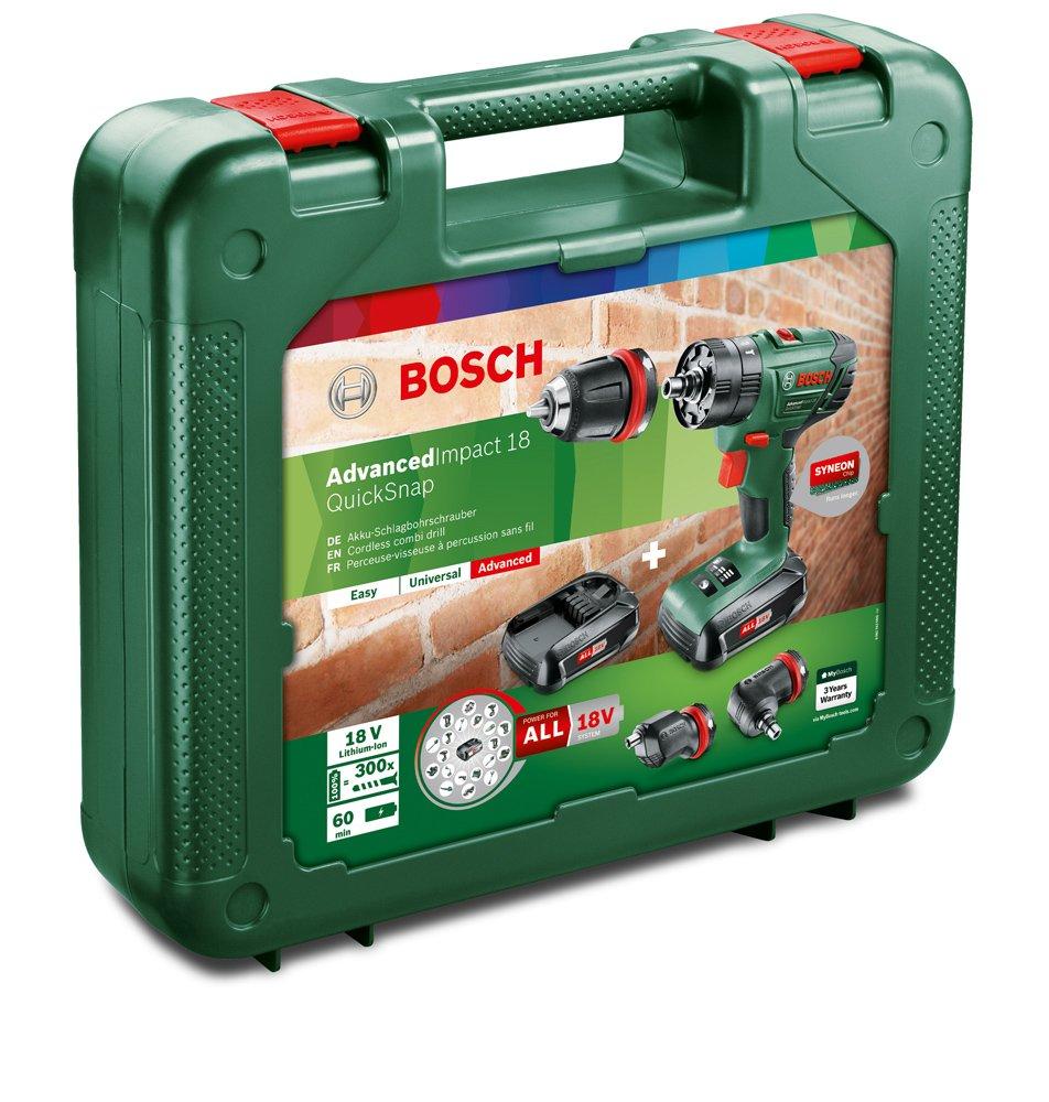 Bosch 06039A3401 Perceuse /à percussion Advancedimpact 18 2 batteries 18V 1 5 Ah Vert Syst/ème Quicksnap 3 Adaptateurs
