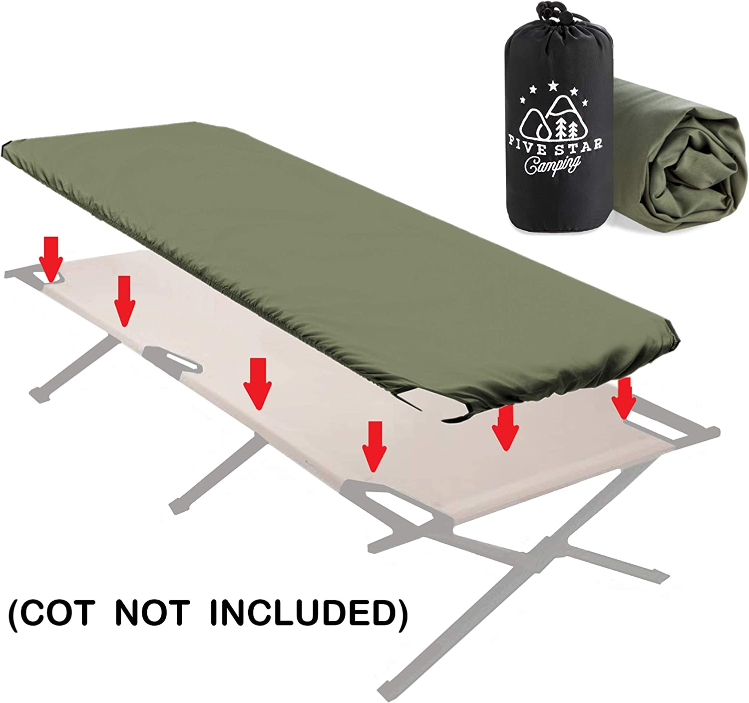 Fitted Camping Cot Sheet for Adult Sleeping Cots Military cots Travel cots and Folding Cots Keeps Your Sleeping Pad Secure! Great for Hunting Camping Bedding That fits Most Army cots