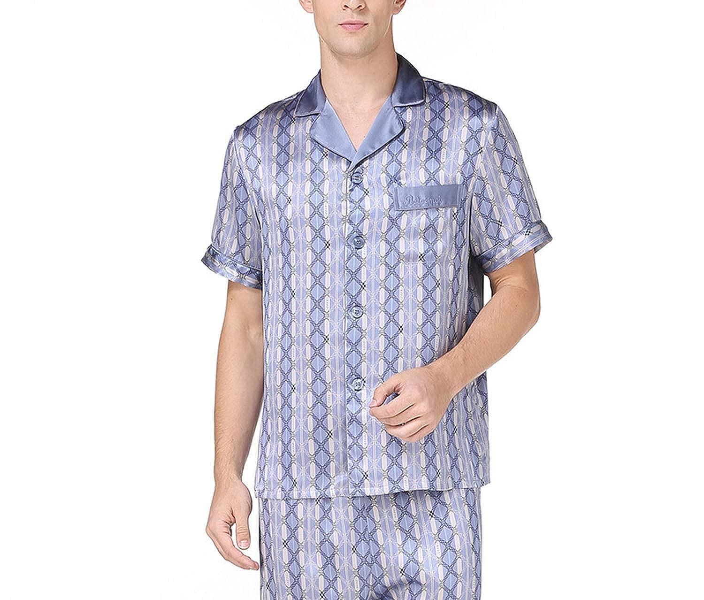 Amazon.com: Silk Pyjama Sets Mens Short Sleeves Pajamas Homewear Male Silk Pijama Hombre Verano Summer: Clothing