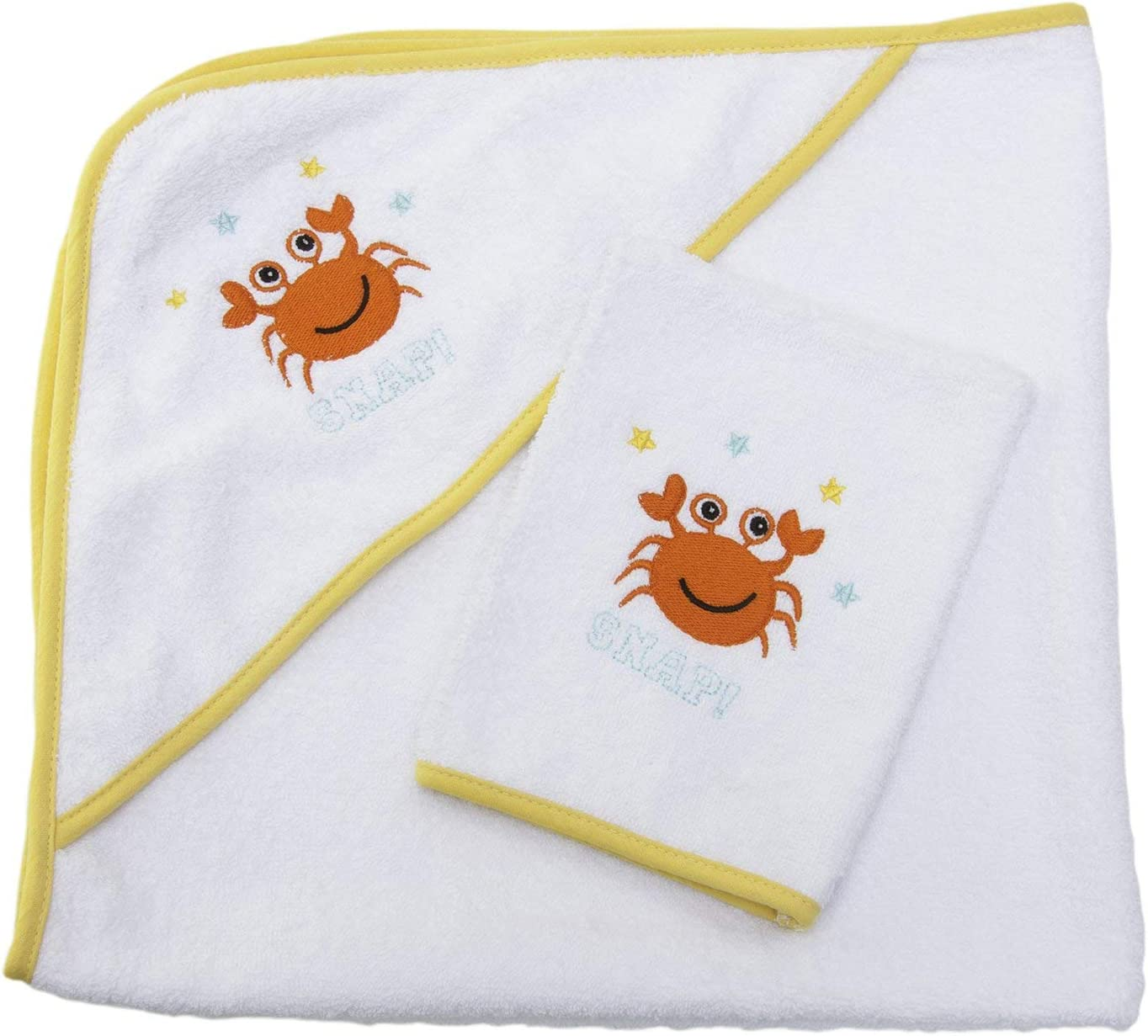 realizzato in Portogallo beige 90/% cotone 10/% poliestere con cappuccio e guanto Pekitas 75 x 75 cm disegno ricamato Mantellina da bagno per neonato