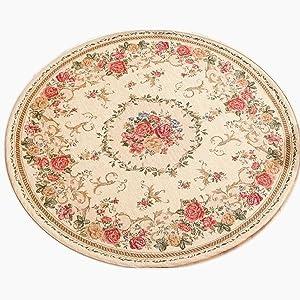 Ukeler Royal Jacquard Floral Rose Rug Soft Yoga Mat Rustic Shabby Home Decorative Floor Rugs Round 3'x3'