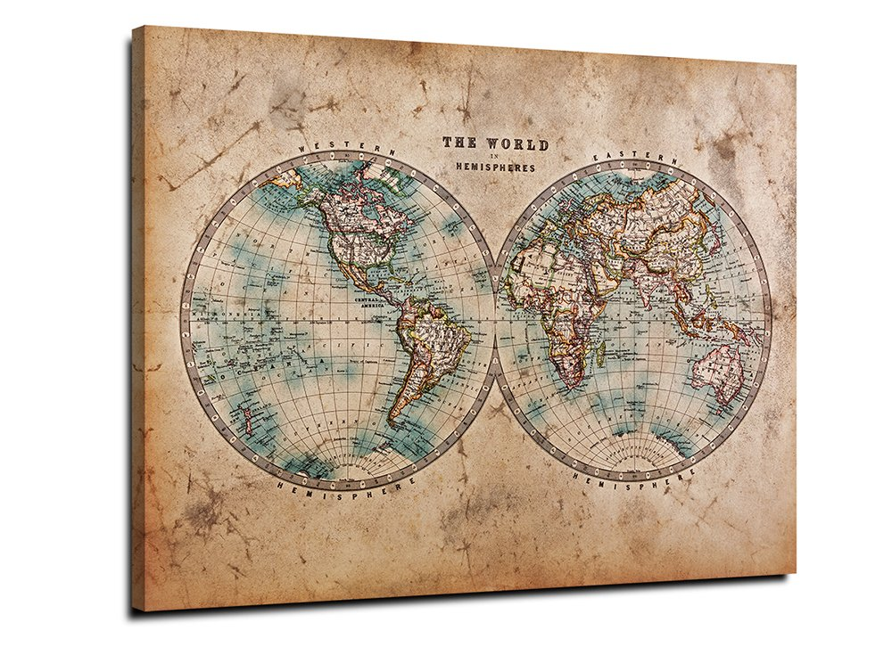 Spherical World Map.Amazon Com Yyl Art Vintage Old Brown Creative Spherical World