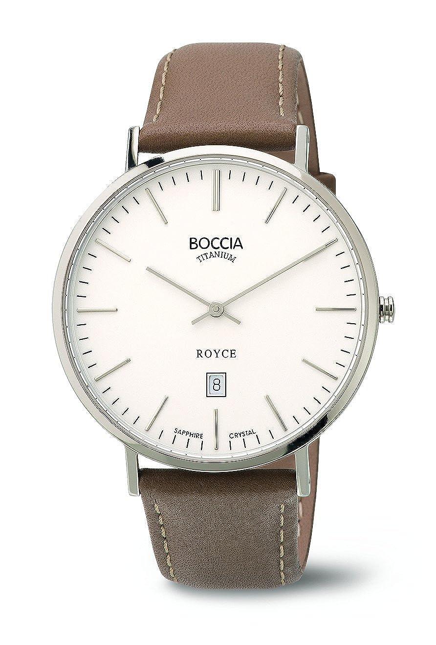 Boccia Reloj de Hombre de Cuarzo con Blanco Esfera analógica Pantalla y Correa de Piel Color marrón b3589–01