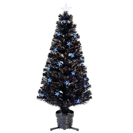 4ft 120cm Black Fibre Optic Artificial Indoor Christmas Tree Blue