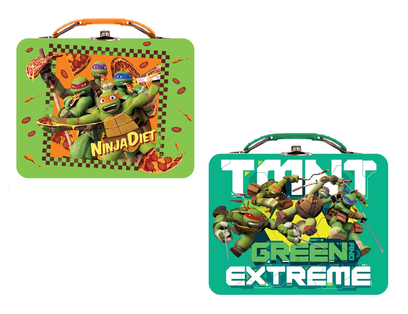 [2-Pack] Teenage Mutant Ninja Turtles Tin Metal Lunch Box Carry All, Ninja Diet & Green Extreme