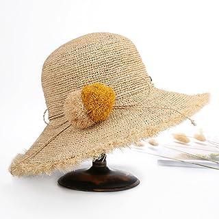Y-WEIFENG Sombrero de Paja Lafitt Sombrero Sombrero de Playa Femenina de Verano Sombrero Solar Sombrero de Viaje Lindo Hairball