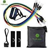Todram 11pc Resistance Band Set - Pull Rope Fitness Exercises For Resistance Training, Physical Therapy, Home Gyms Workout Yoga with Door Anchor, Handles, Ankle Straps, Carrying Case