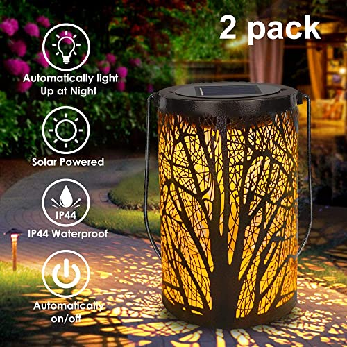 Solar Lantern Outdoor Lights for Decorative Atmosphere Hanging Garden Lantern Cylindrical Table Lamp Night Light Warm Lighting for Courtyard, Party, Walkway,Terrace, Garden, Lawn 2 Pack
