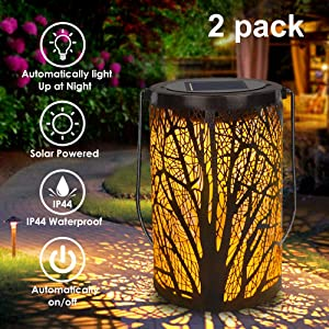 Solar Lantern Outdoor Lights for Decorative Atmosphere Hanging Garden Lantern Cylindrical Table Lamp Night Light Warm Lighting for Courtyard, Party, Walkway,Terrace, Garden, Lawn (2 Pack)