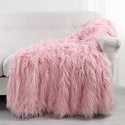 amazon com leevan soft shaggy fluffy faux fur throw blanket cozy