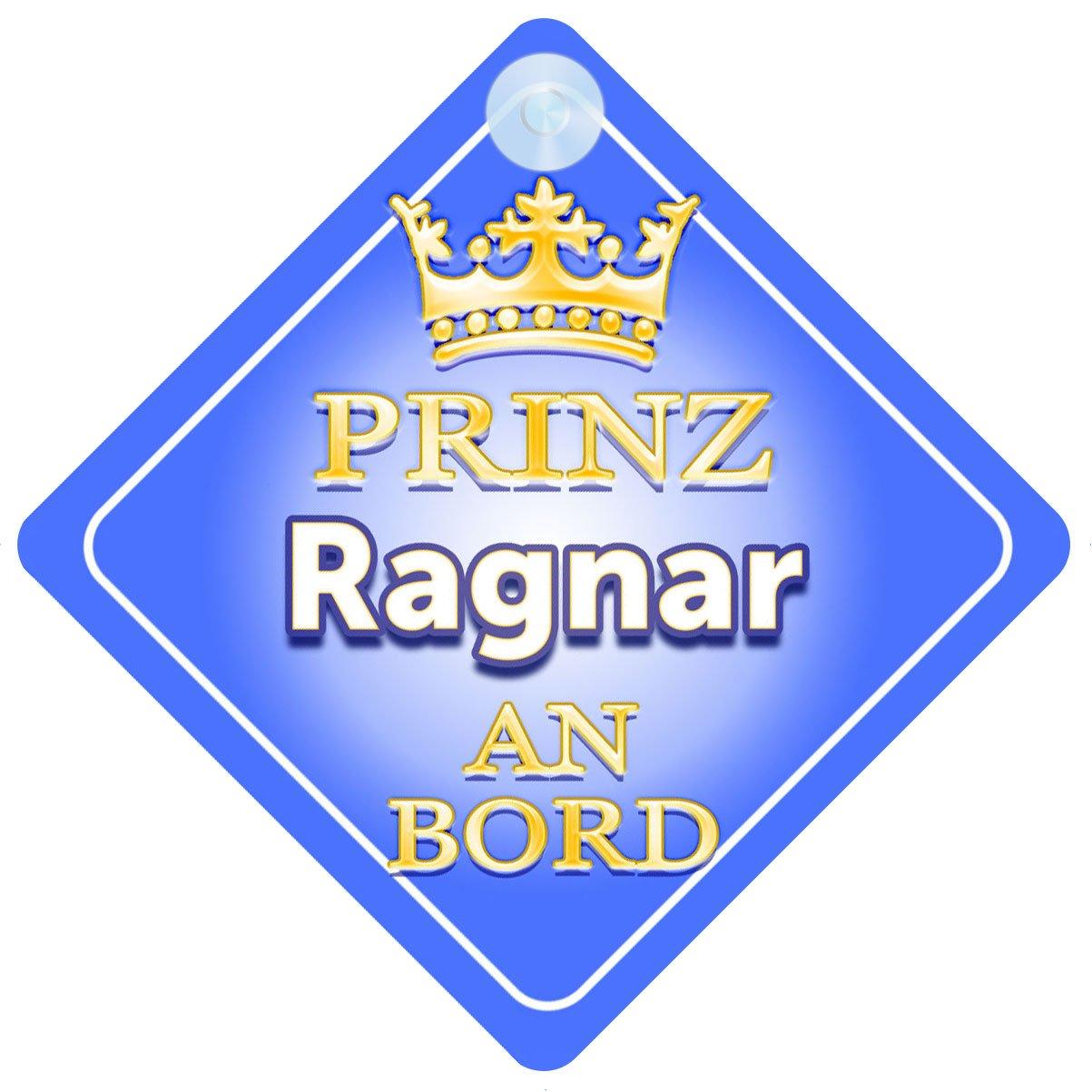 Autoschild /… Kind Geschenk Baby on Board Pr/äsentieren Prinz Ragnar An Bord mit Krone Personalisierte Autokennzeichen Neues Baby Junge