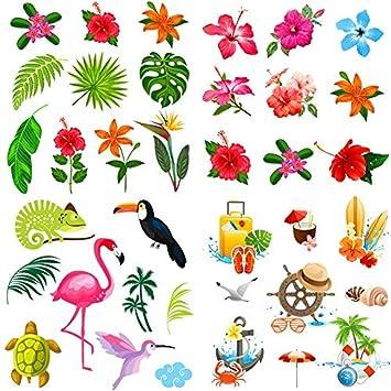 Elcoho 108 Piezas Hawaiian Luau Hibiscus Tatuajes Temporales ...