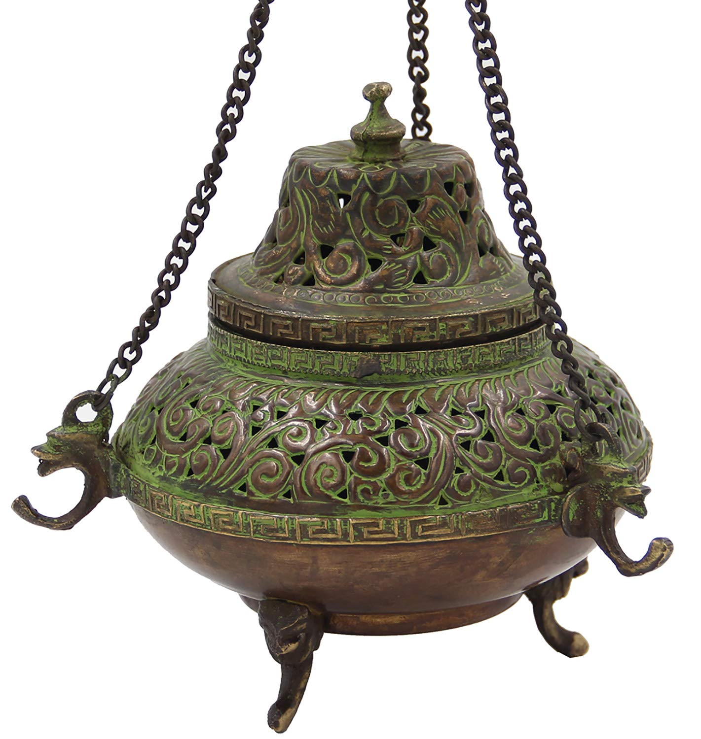 DharmaObjects Tibetan Traditional Hanging Incense Burner Copper (5.5 x 4.5 x 4.5 Inches, Hanging 7)