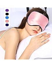 Silk Sleep Mask & Blindfold, Soft Eye Mask with Adjustable Head Strap, Deep Rest Eye Masks for Sleeping Night Eyeshade, Eye Cover for Travel, Shift Work & Meditation(Pink)