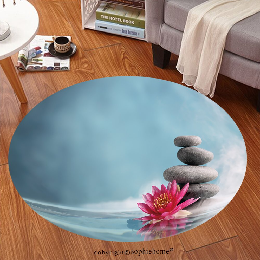 Sophiehome Soft Carpet 201426836 Spa still life with water lily and zen stone in a serenity pool Anti-skid Carpet Round 24 inches