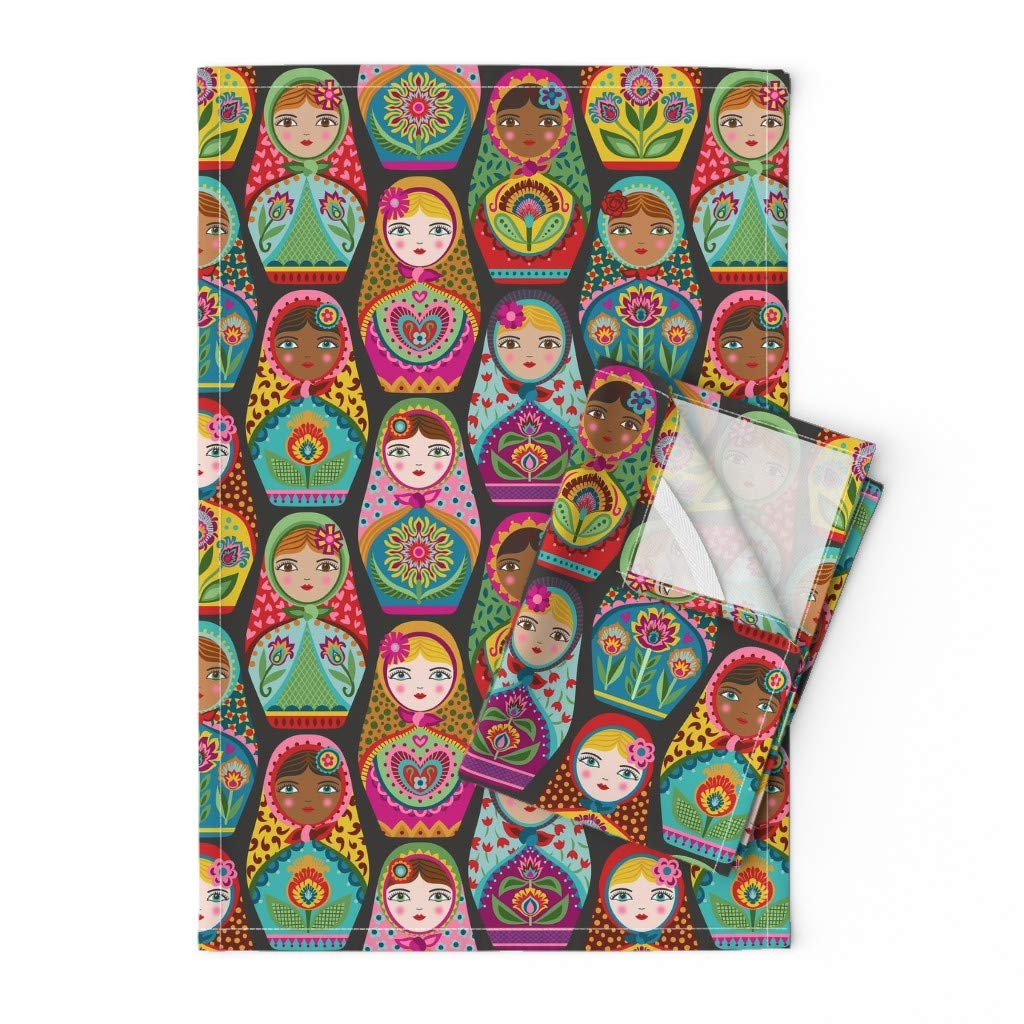 Roostery Tea Towels, Matryoshka Doll Russian Nesting Black Maiden Folk Sisterhood Women Print, Linen Cotton Tea Towels, Set of 2 by Roostery