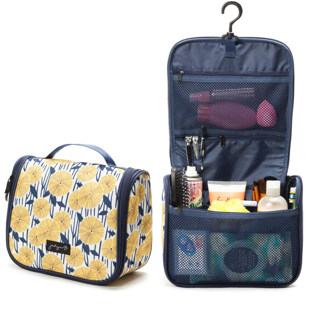 Hanging Toiletry Bag and Travel Cosmetic Bag Organizer for Women - Yellow Flowers