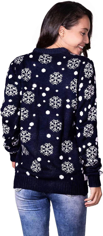 Sudadera Suave de Fleeces con Manga Larga de Punto Festivo Grueso para Fiesta Jersey de Navidad para Mujer Su/éter Feo de Navidad Divertido y Novedoso con Renos de Santa