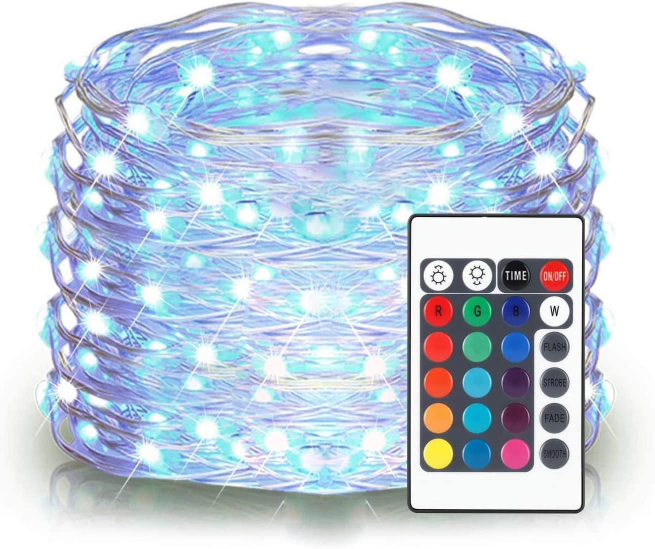 ALOVECO LED String Lights, 16ft 50 LED Battery Powered Multi Color Changing Fairy String Lights with Remote, 16 Colors Starry Twinkle String Lights for Bedroom,Garden,Christmas, Party