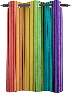 BABE MAPS Modern Drapes Grommet Top 84 inch Length Blackout Curtains Living Room Bedroom Window Treatment Bathroom Window Curtains, Wooden Stick Rainbow Color