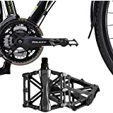 Bicycle Pedals - Aluminum Alloy Mountain Bike Pedals - Flat Platform Pedals with 16 Anti-skid Pins - Universal 9/16 Inch Road Pedals for BMX/MTB Bike, City Bike