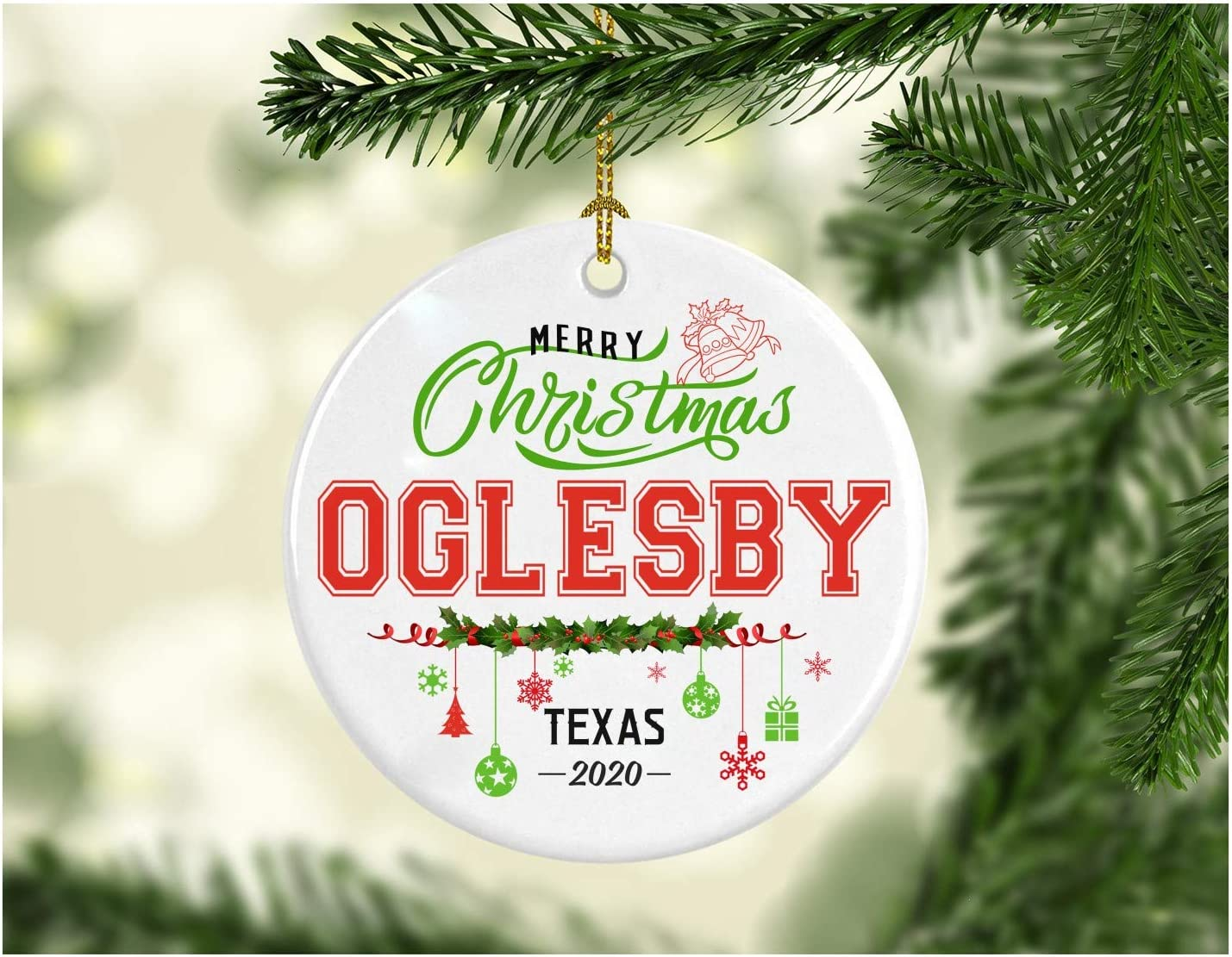 Christmas Decorations Tree Ornament - Gifts Hometown State - Merry Christmas Oglesby Texas 2020 - Gift for Family Rustic 1St Xmas Tree in Our New Home 3 Inches White