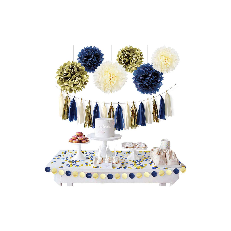 YP-fashion 11Pcs/Set Gold Dark Blue Paper Flower Tassel Garland Confetti DIY Party,1 Set