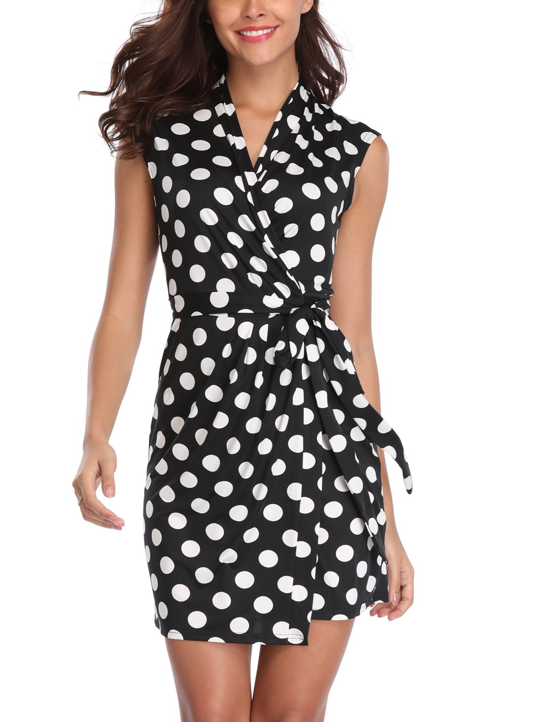 MISS MOLY Women's Knee Length V Neck Sleeveless Tie Waist Polka Dots Casual Romper Jumpsuit Wrap Dress (2 X-Small, Black-White)