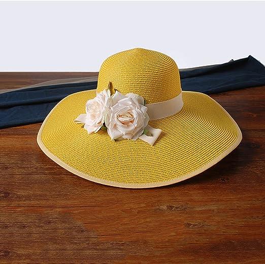 H.ZHOU Pamelas Sombrero de Paja Sombrero de Playa Mujer Verano ...